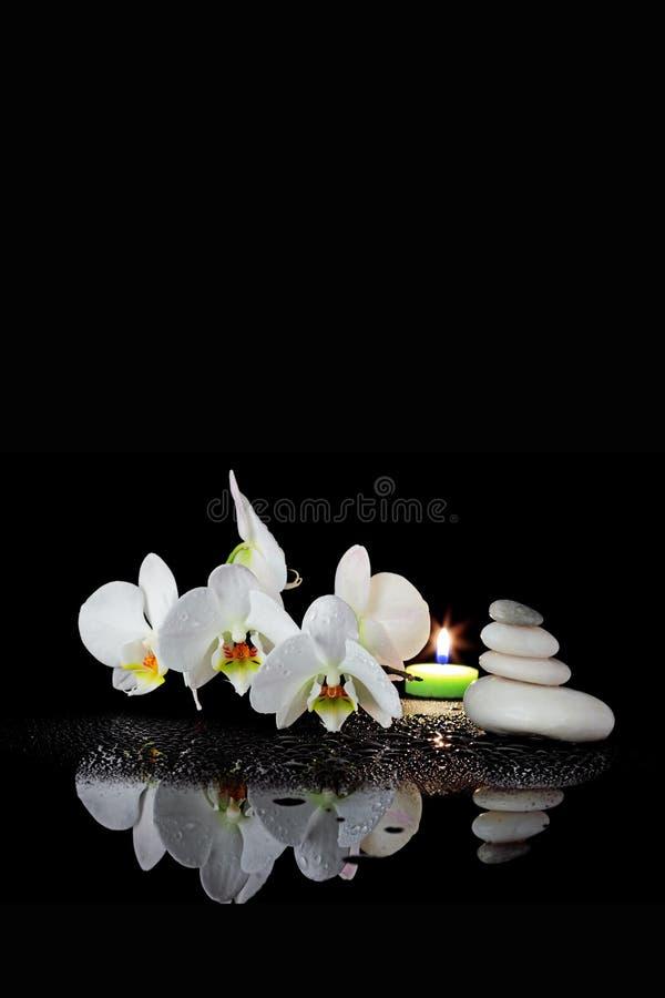 Weiße Orchidee und Badekurort lizenzfreies stockbild