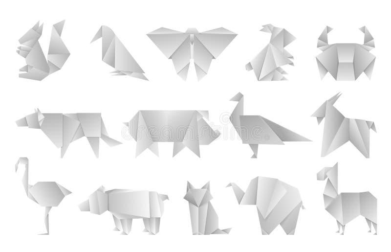 Weiße Origamitiere Geometrische gefaltete Papierformen, abstrakte Vogeldracheschmetterlings-Polygonschablonen Vektor Japan vektor abbildung