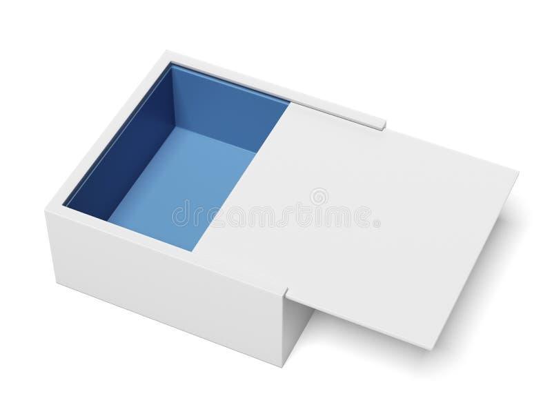 Weiße Paket-Pappgleitender Kasten geöffnet vektor abbildung