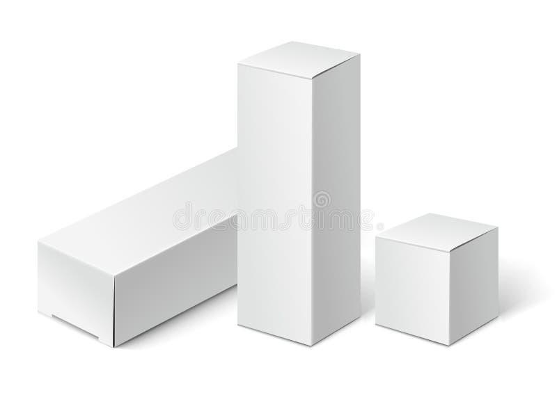 Weiße Pappe verpackt Kästen lizenzfreie abbildung