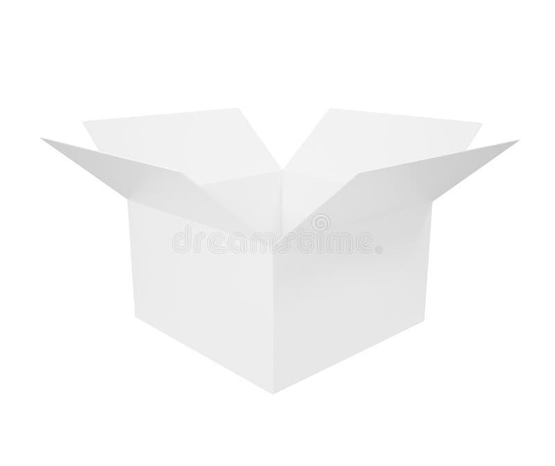 Weiße Pappschachtel lokalisiert auf weißem Hintergrund lizenzfreie abbildung