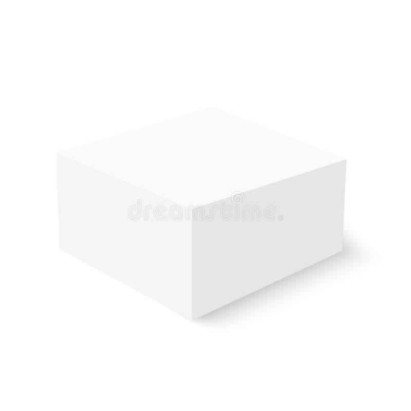 Weiße Pappschachtelschablone mit weichem Schatten Vektorspott oben stock abbildung