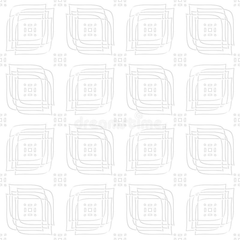Weiße perforierte lineare Blätter und Rechteckgruppen nahtlos stock abbildung