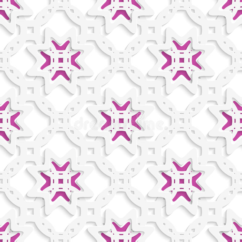 Weiße perforierte Verzierung überlagert mit den Sternen nahtlos vektor abbildung