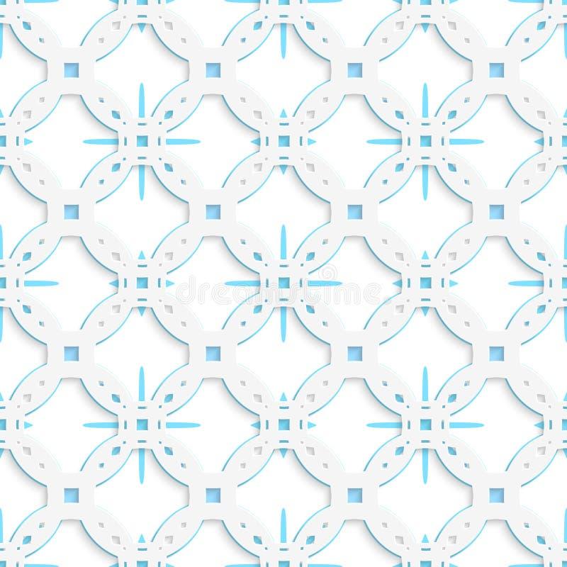 Weiße perforierte Verzierung mit den blauen Schneeflocken nahtlos vektor abbildung