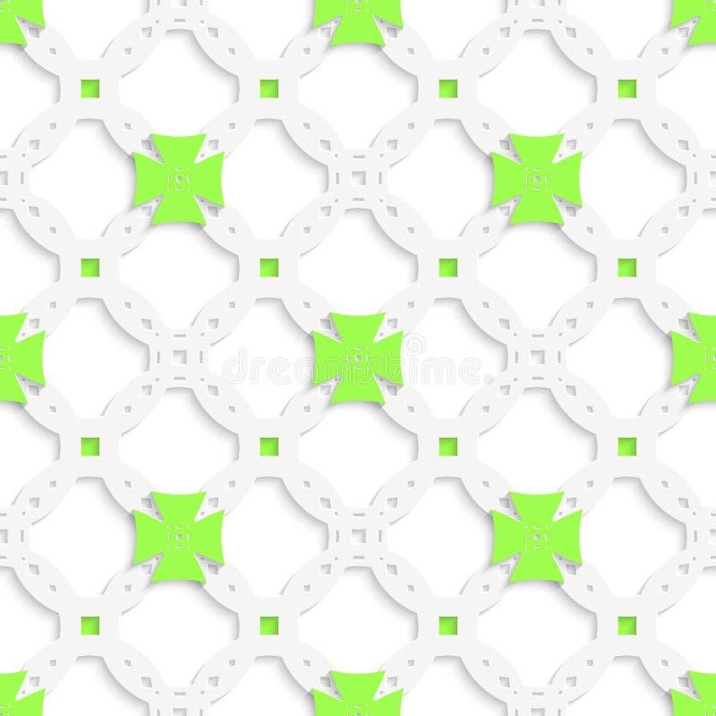 Weiße perforierte Verzierung mit den grünen Kreuzen nahtlos lizenzfreie abbildung