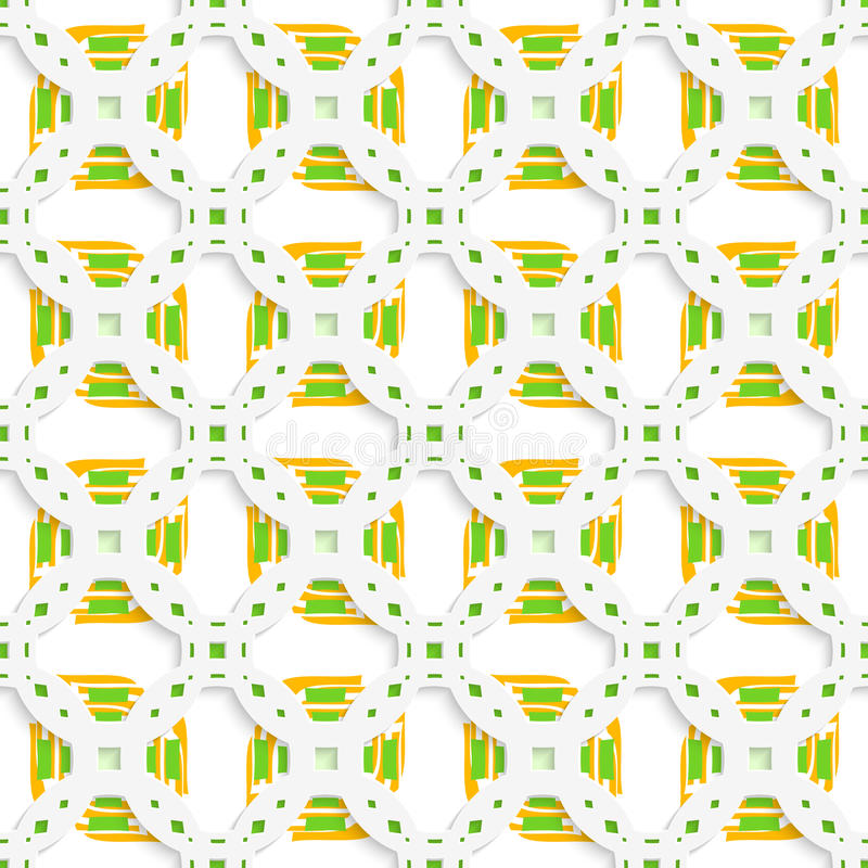 Weiße perforierte Verzierung mit grünem orange nahtlosem lizenzfreie abbildung