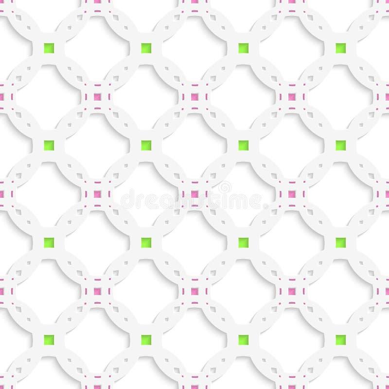 Weiße perforierte Verzierung mit grünem rosa nahtlosem vektor abbildung