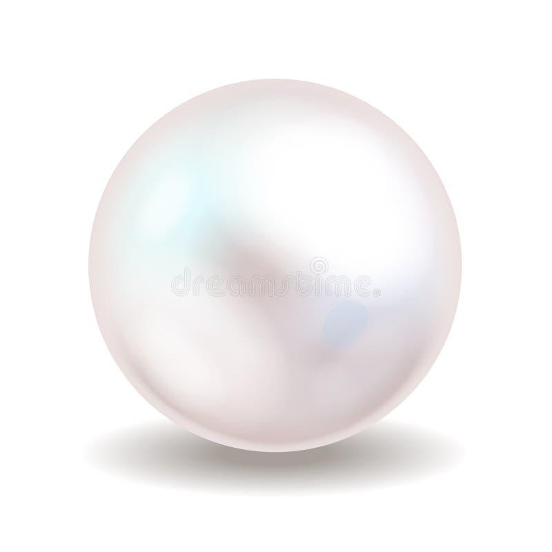 Weiße Perle Seeperle lokalisiert auf weißem Hintergrund Glänzender Austernperlenball für Luxuszubehör Auch im corel abgehobenen B stock abbildung
