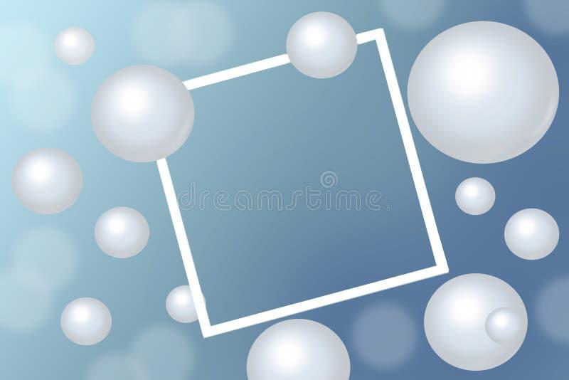 Weiße Perlen um rechteckigen weißen Rahmen auf blauem Hintergrund lizenzfreie stockbilder
