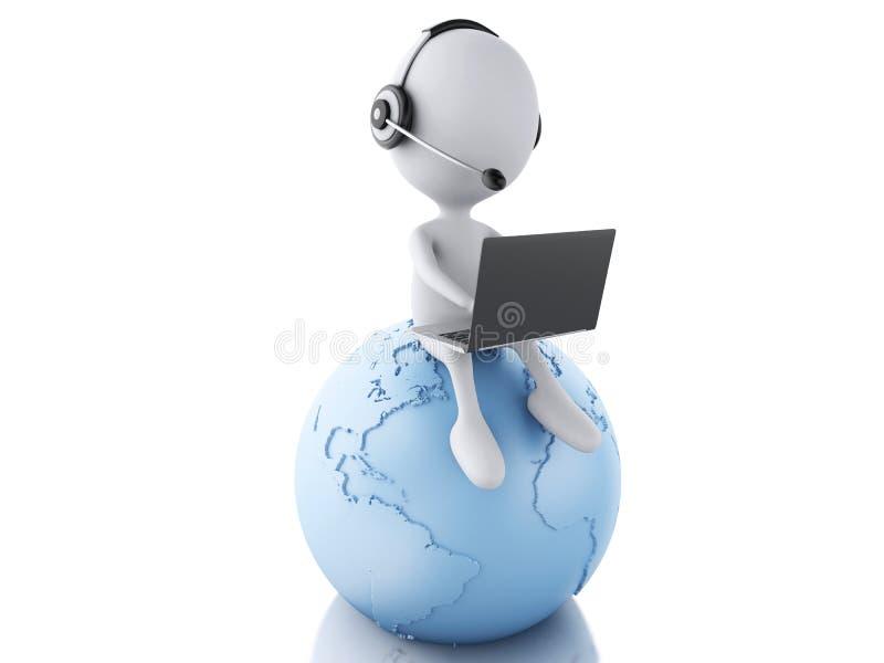 weiße Person 3d, die an einem Laptop mit Kopfhörern auf blauem eart arbeitet stock abbildung