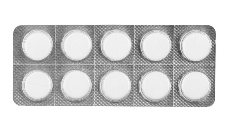 Weiße Pillen in der Blase lokalisiert lizenzfreie stockfotos