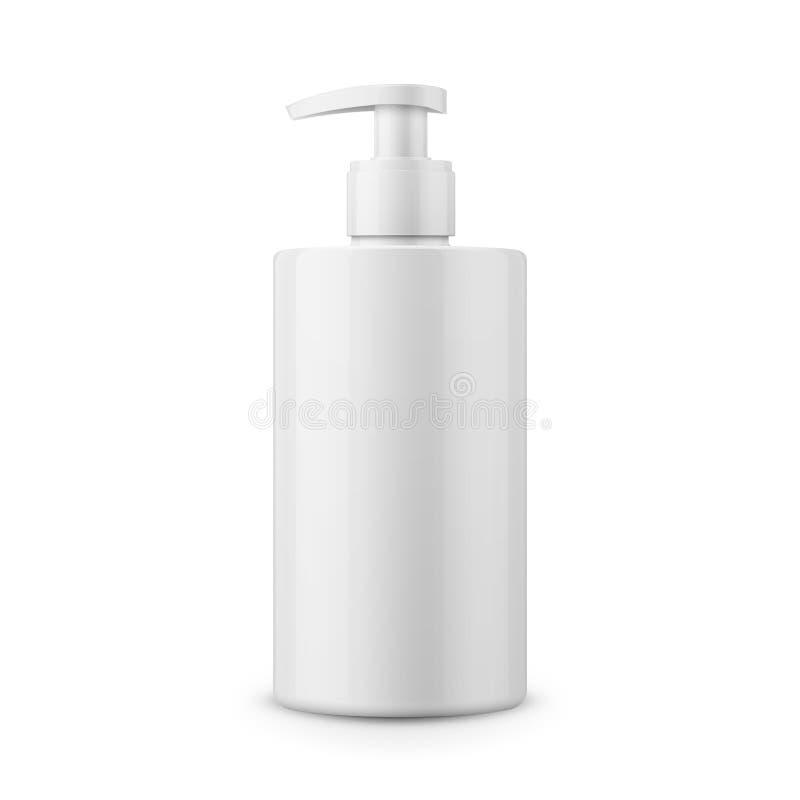 Weiße Plastikflaschenschablone für Flüssigseife vektor abbildung