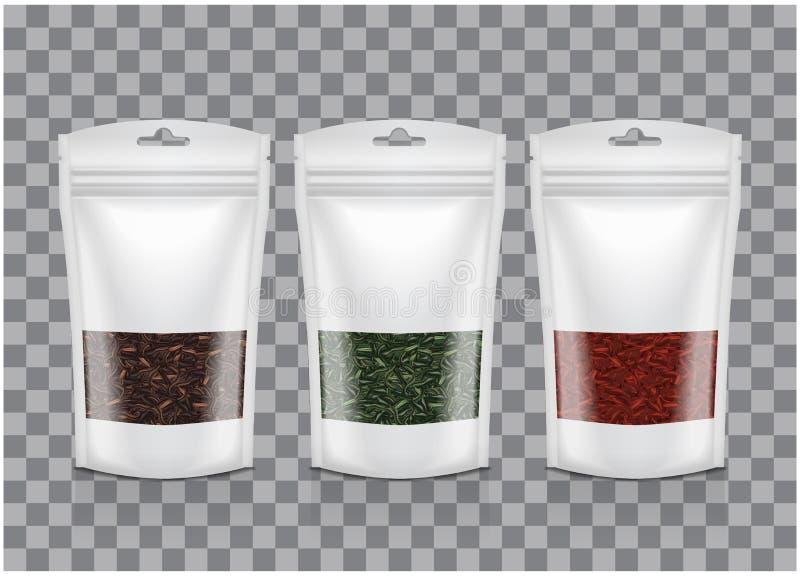 Weiße Plastiktasche mit Fenster Schwarzer, grüner, roter Tee Verpackungsschablonen-Modellsammlung stock abbildung