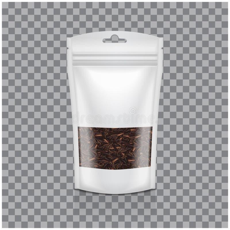 Weiße Plastiktasche mit Fenster Schwarzer Tee Verpackenschablonenmodell auf transparentem Hintergrund lizenzfreie abbildung