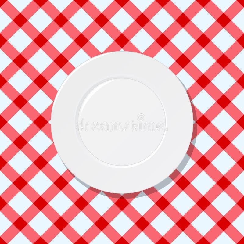 Weiße Platte auf roter und weißer überprüfter Tischdecke lizenzfreie abbildung