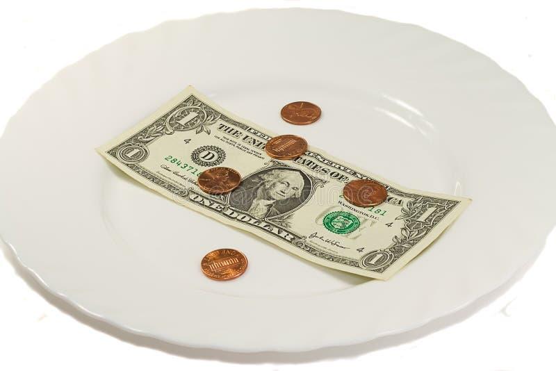 Weiße Platte mit Dollar und einigen Cents stockbilder