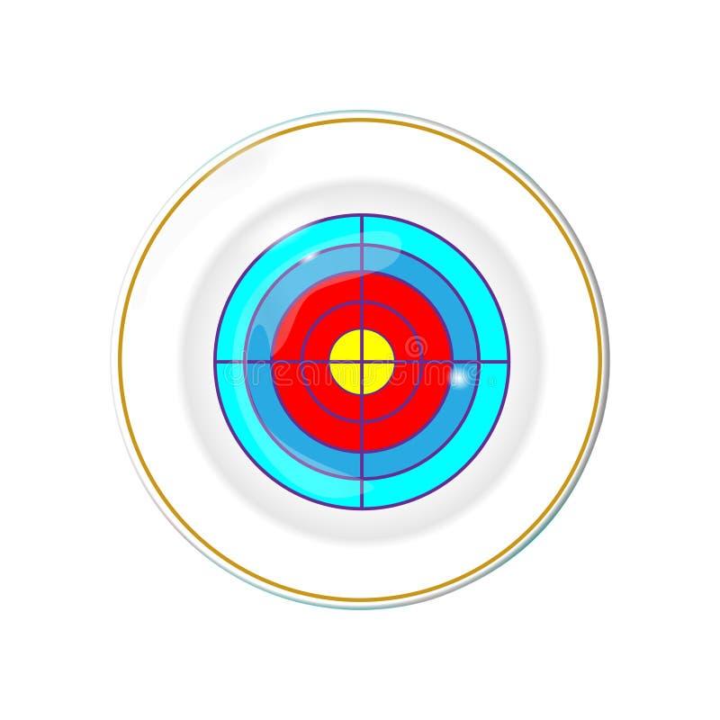 Weiße Platte mit Goldgrenze, lokalisierter Vektor mit dem Bild des Ziels Küchenteller für Lebensmittel, Illustrationselement für  stock abbildung