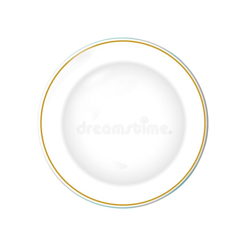Weiße Platte mit Goldgrenze, lokalisierter Vektorgegenstand auf einem transparenten Hintergrund Küchenteller für Lebensmittel, Il vektor abbildung