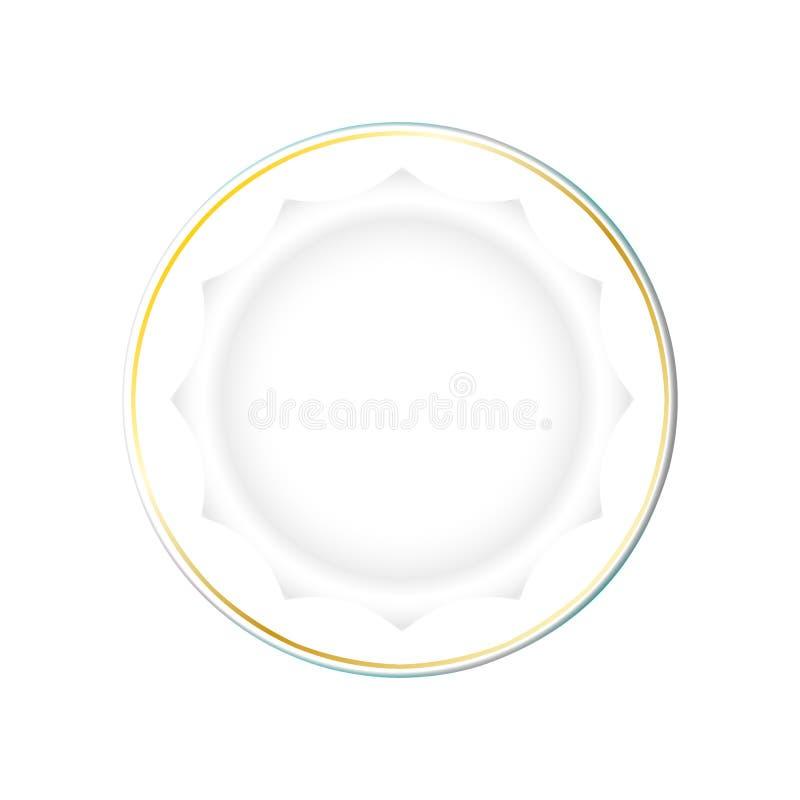 Weiße Platte mit Goldgrenze und einer polygonalen Unterseite, lokalisierter Vektor auf einem hellen Hintergrund Küchenteller für  vektor abbildung
