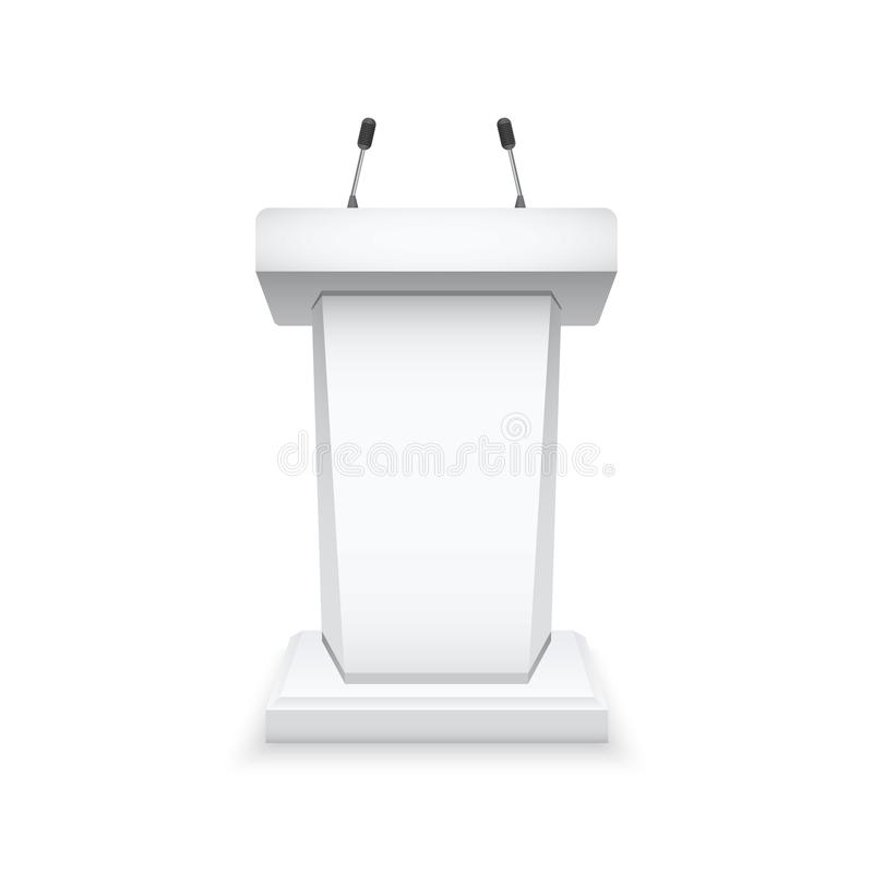 Weiße Podiumtribüne mit Mikrophonen Lokalisiertes Tribünemodell Auch im corel abgehobenen Betrag lizenzfreie abbildung