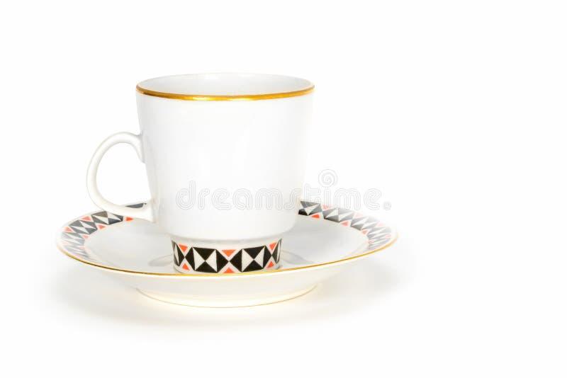 Wei?e PorzellanKaffeetasse mit Untertasse, auf einem wei?en leeren Hintergrund, Abschluss oben Farbige Illustration stockfotos