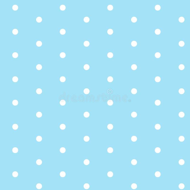Weiße Punkte auf hellblauem nahtlosem Musterhintergrundvektor stock abbildung