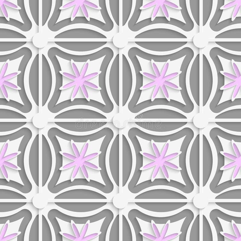 Weiße Punkte und rosa Blumen schnitten O-Papier heraus vektor abbildung