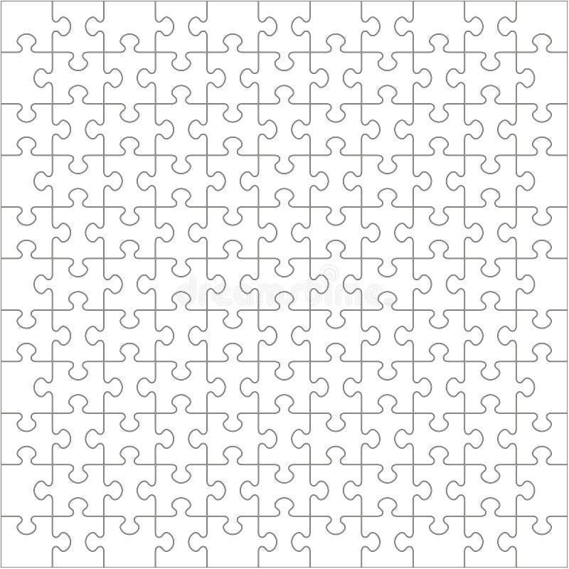 121 weiße Puzzlespiel-Stücke - Laubsäge vektor abbildung