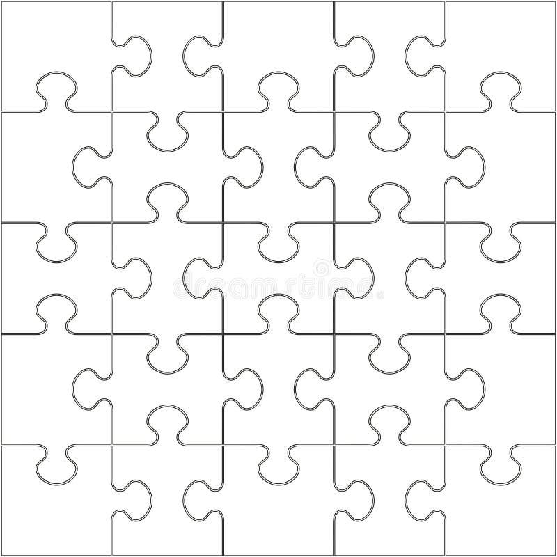 25 weiße Puzzlespiel-Stücke - Laubsäge lizenzfreie abbildung