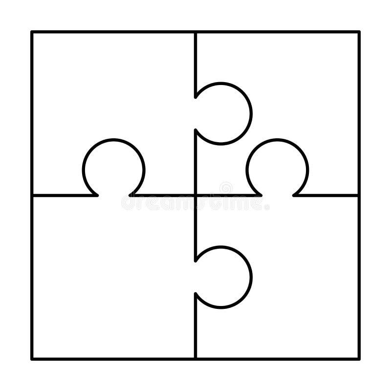 4 weiße Puzzlespielstücke vereinbart in einem Quadrat Puzzleschablone bereit zum Druck Ausschnittrichtlinien über Weiß vektor abbildung