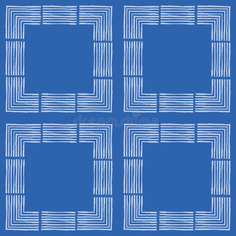 Wei?e Quadrate Handdes gezogenen strukturierten B?rstenanschlags im geometrischen Entwurf Nahtloses Vektormuster auf blauem Hinte stock abbildung