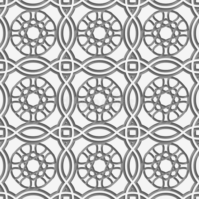 Weiße Quadrate und geometrische Blumen führten nahtloses einzeln auf lizenzfreie abbildung