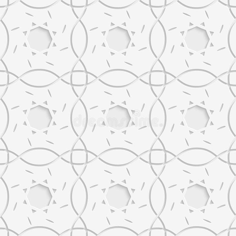 Weiße Quadrate und geometrische Blumen nahtlos lizenzfreie abbildung