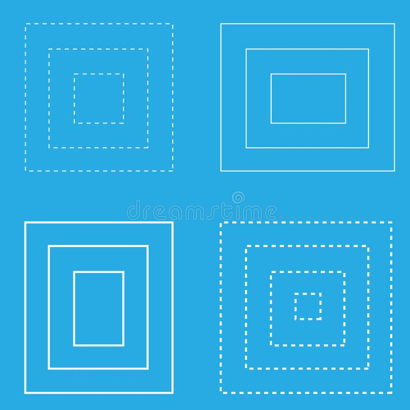Weiße quadratische geometrische Formlinien des blauen Hintergrundes vektor abbildung