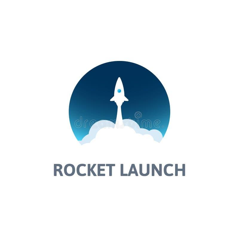 Weiße Rakete mit Wolke und blauem Himmel, Kreisikone in der flachen Art, Vektorillustration vektor abbildung