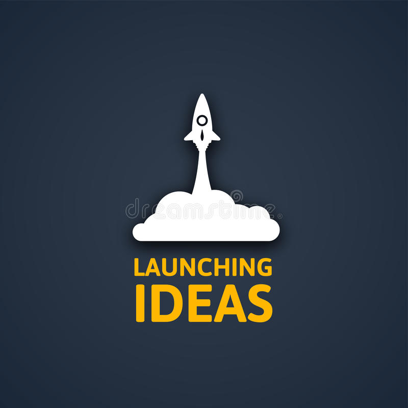 Weiße Rakete und Wolke, Ikone in der flachen Art lokalisiert auf dunklem Hintergrund, Vektorillustration stock abbildung