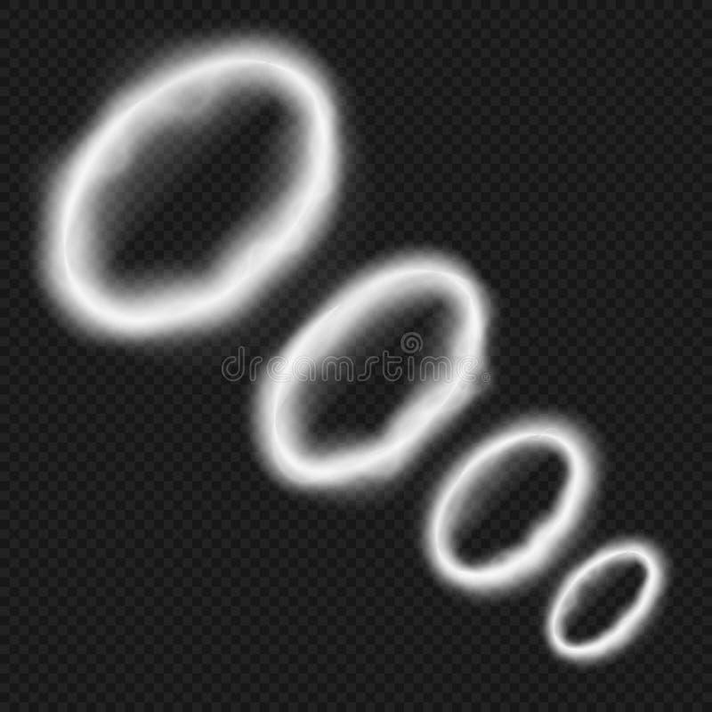 Weiße Rauchringe vom vape Pfeife- oder Hukadampfhintervektorillustration lokalisiert lizenzfreie abbildung