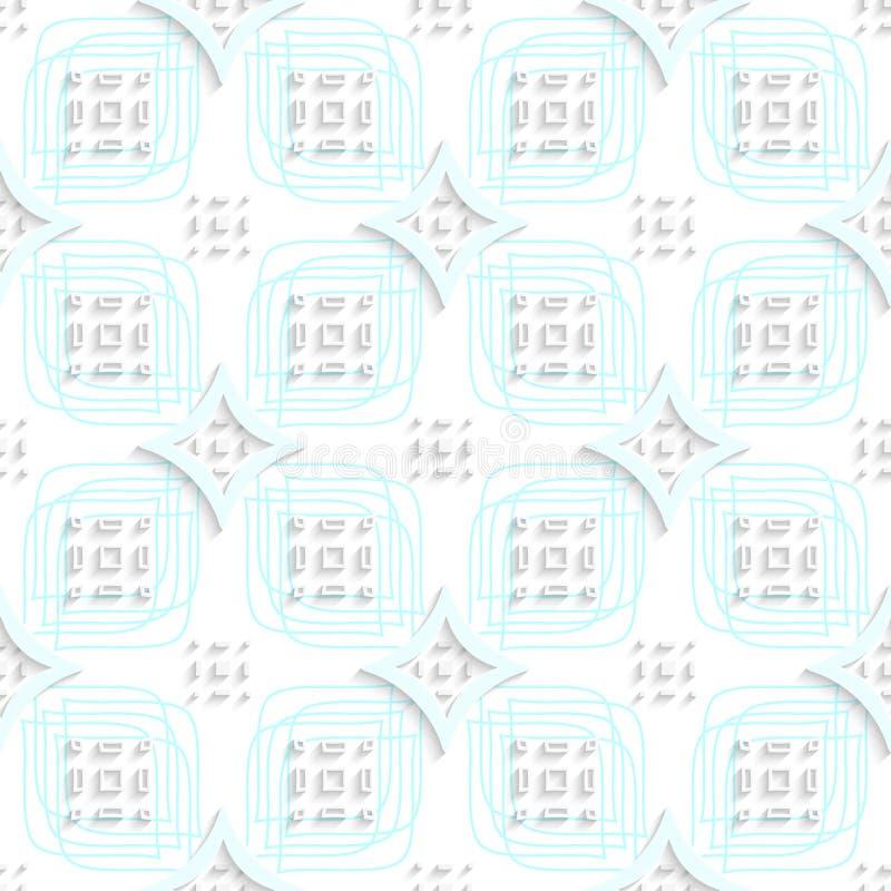 Weiße Rechteckgruppen auf der blauen Verzierung nahtlos lizenzfreie abbildung