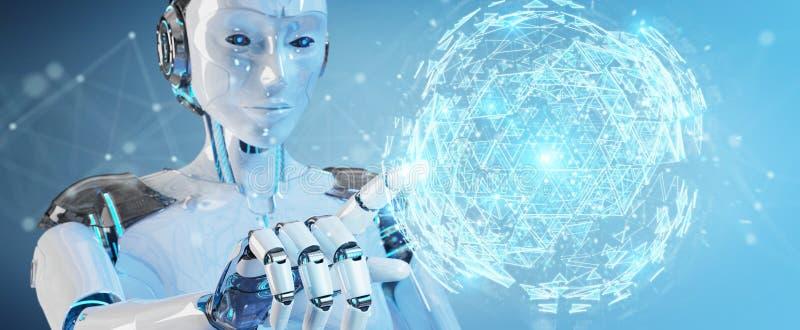 Weiße Roboterfrau, die explodierendes hologr Bereich des digitalen Dreiecks verwendet lizenzfreie abbildung