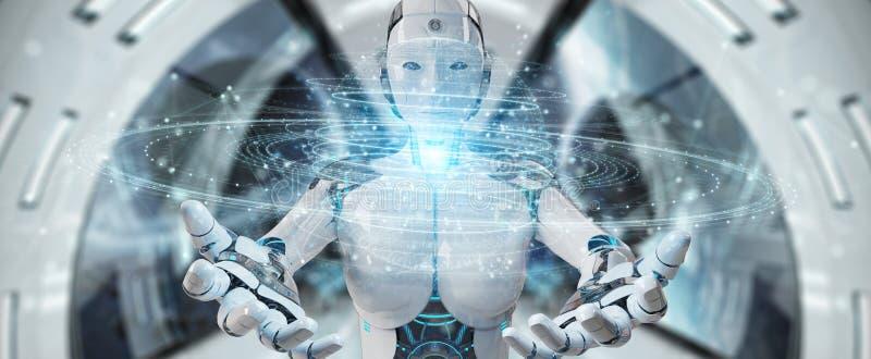 Weiße Roboterfrau, die explodierendes hologr Bereich des digitalen Dreiecks verwendet vektor abbildung