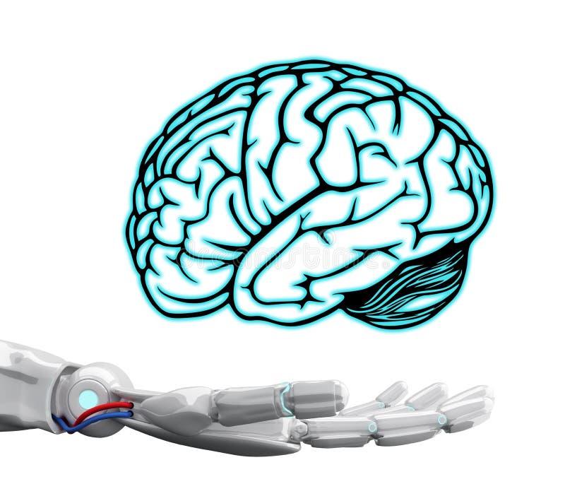 Weiße Roboterhand, die virtuelles Gehirn hält stockfotos