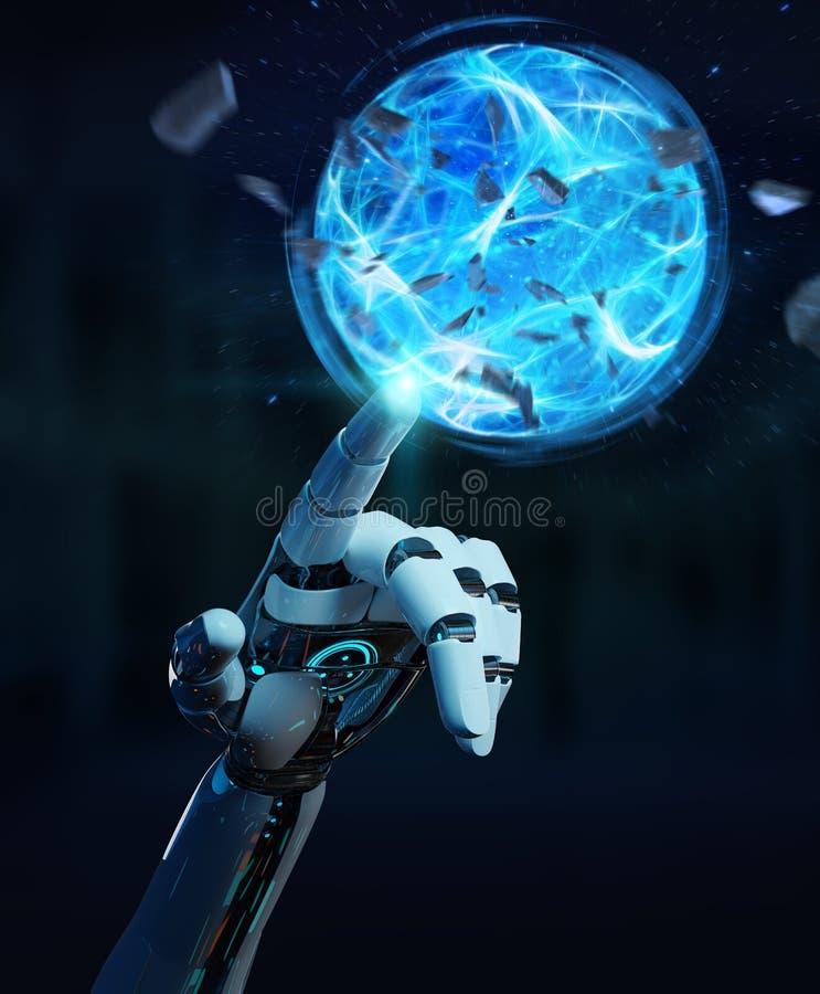 Weiße Roboterhand, die Wiedergabe des Energieballs 3D schafft lizenzfreie abbildung