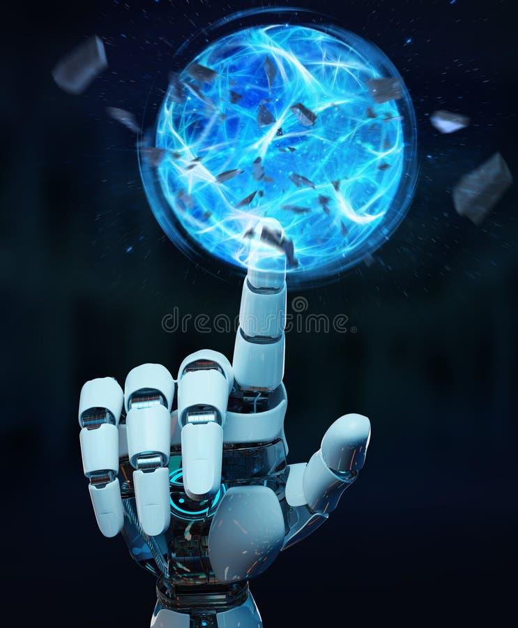 Weiße Roboterhand, die Wiedergabe des Energieballs 3D schafft vektor abbildung