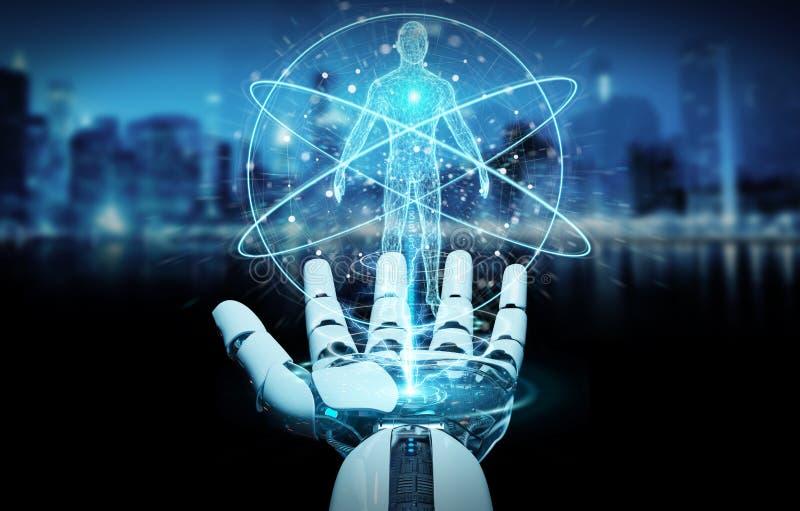 Weiße Roboterhand, die Wiedergabe des menschlichen Körpers 3D scannt stock abbildung