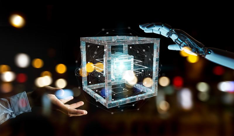 Weiße Roboterhand, die zukünftiges Technologiestruktur 3D renderi schafft lizenzfreie abbildung