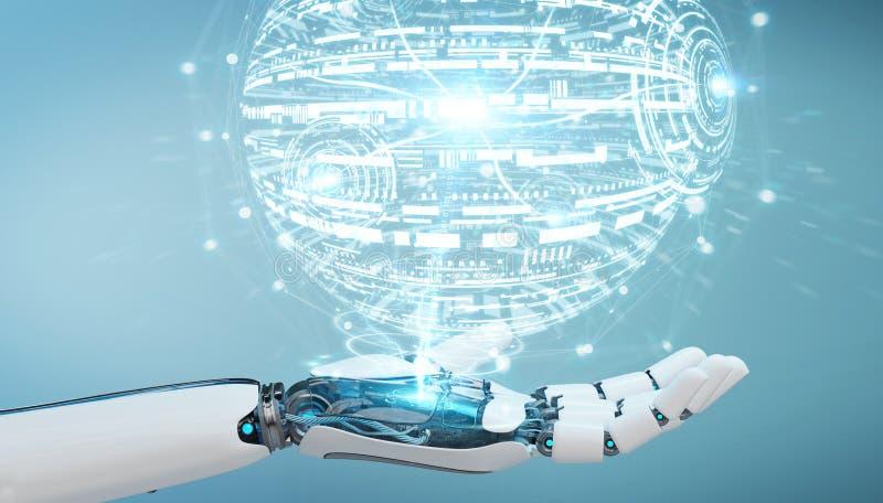 Weiße Roboterhand unter Verwendung der digitalen Wiedergabe Kugel hud Schnittstelle 3D vektor abbildung