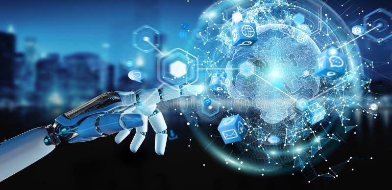 Weiße Roboterhand unter Verwendung der digitalen Wiedergabe der Schirmschnittstelle 3D lizenzfreie abbildung