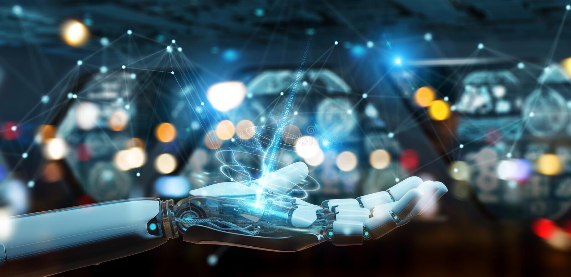 Weiße Roboterhand unter Verwendung der Wiedergabe der Digitalnetzverbindung 3D lizenzfreie abbildung