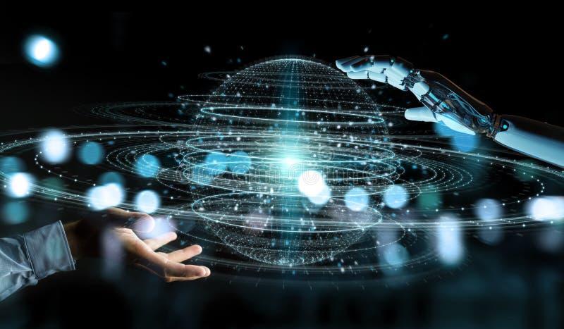 Weiße Roboterhand unter Verwendung des digitalen Bereichverbindungshologramms 3D ren vektor abbildung